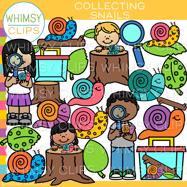 Collecting Snails Clip Art