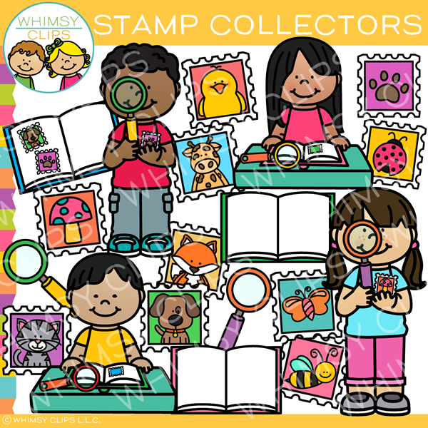 Stamp Collector Kids Clip Art