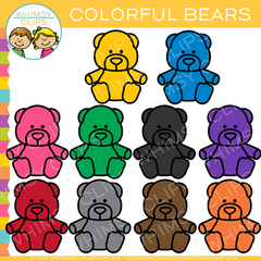 Colorful Bears Clip Art