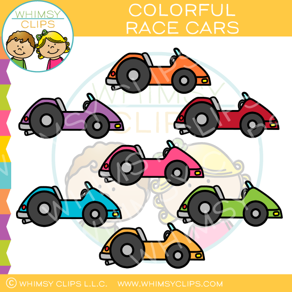 Colorful Race Cars Clip Art