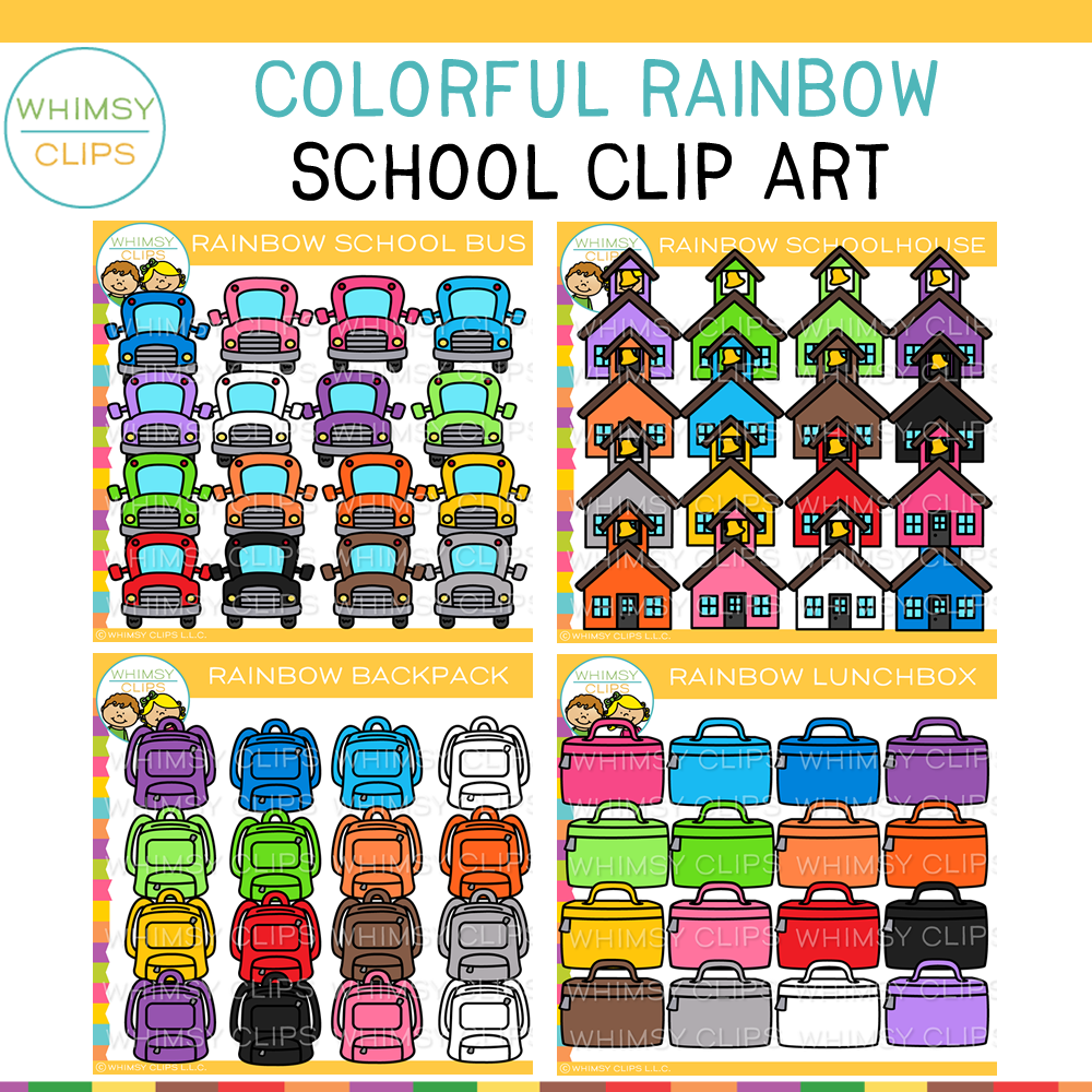 Rainbow School Clip Art Bundle