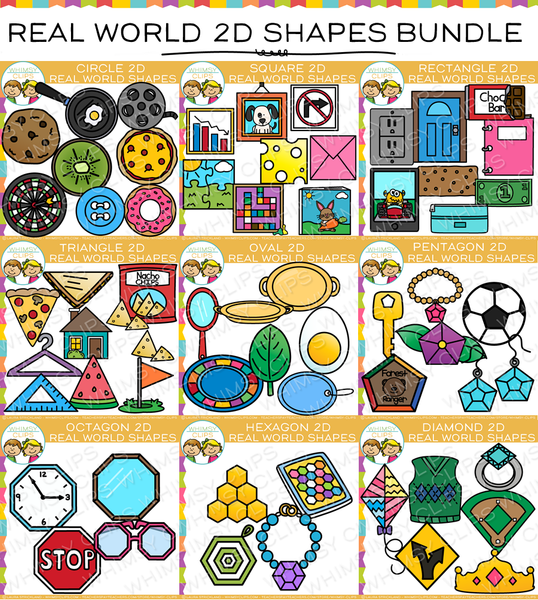 2D Shapes Real Life Objects Clip Art Bundle