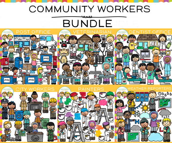 Kids Community Workers Clip Art BUNDLE