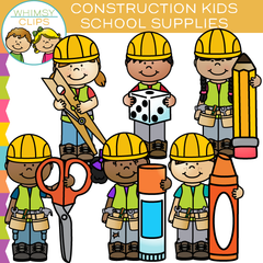 Construction Kids with School Supplies Clip Art