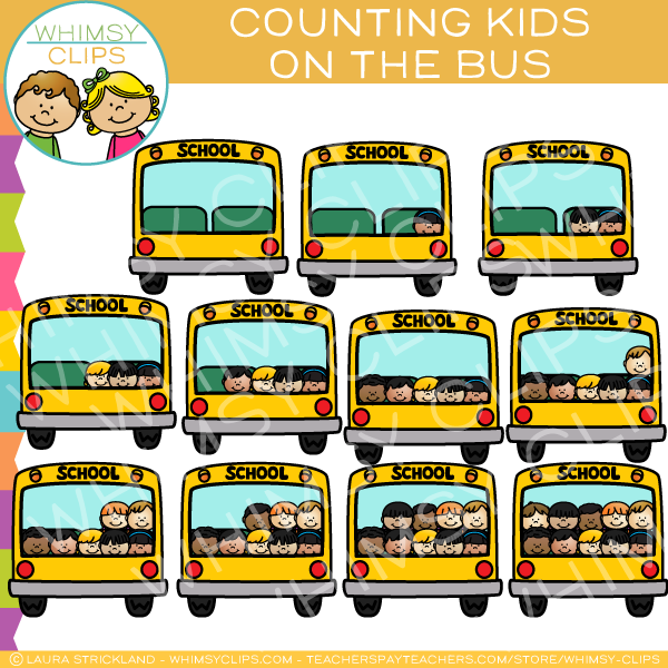 Kids on a School Bus Counting Clip Art