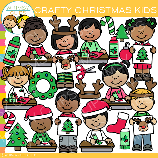 Crafty Christmas Kids Clip Art