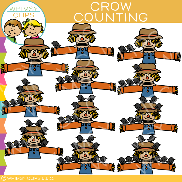 Scarecrow and Crow Counting Clip Art