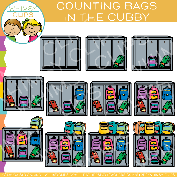 Counting Backpacks in a Cubby Clip Art