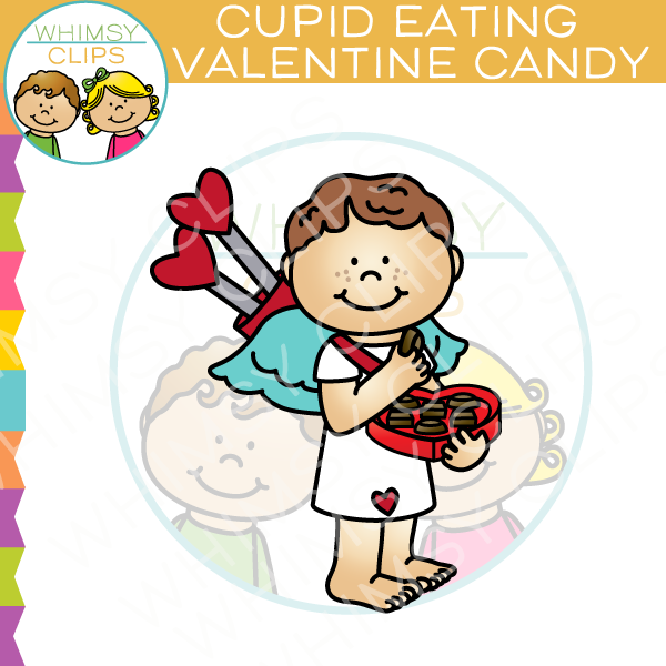 Cupid Eating Valentine Candy Clip Art