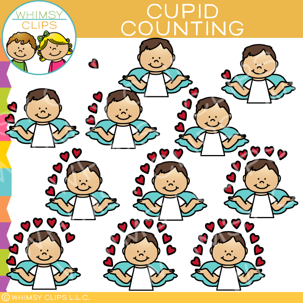 Cupid Counting Hearts Clip Art