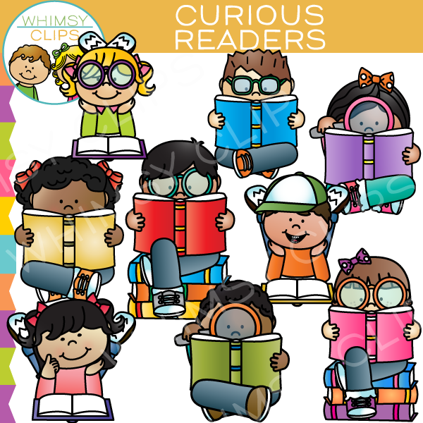 Curious Readers Reading Clip Art