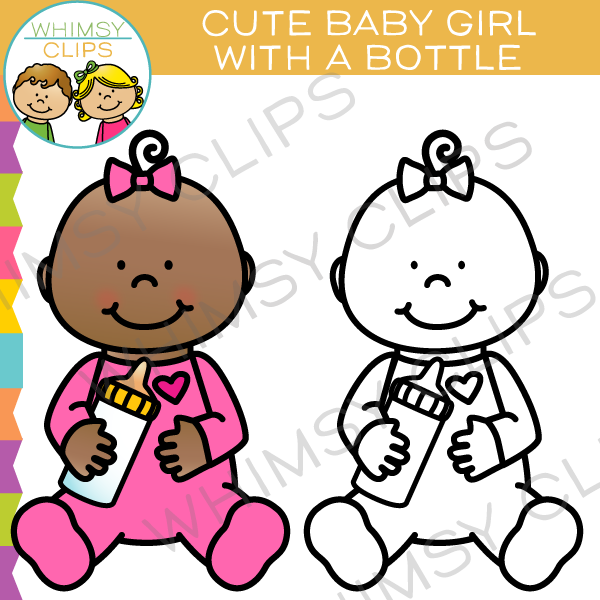 Cute Baby Girl with a Bottle Clip Art