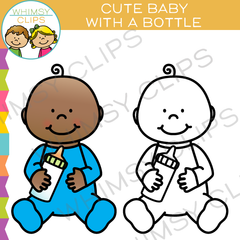 Cute Baby With a Bottle Clip Art