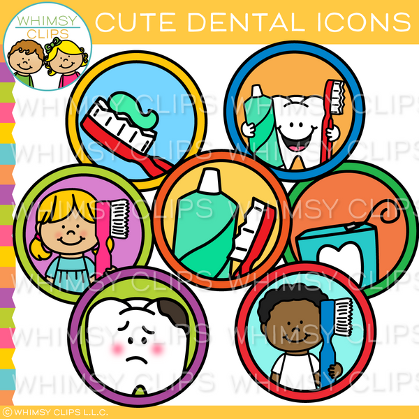Cute Dental Icons Clip Art
