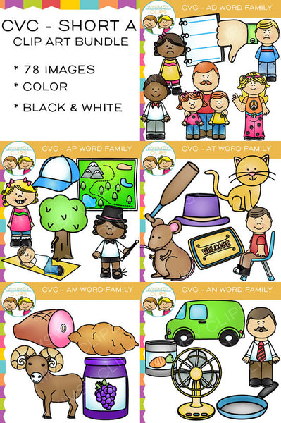 CVC Clip Art - Short A Word Family Clip Art Bundle {Volume One}