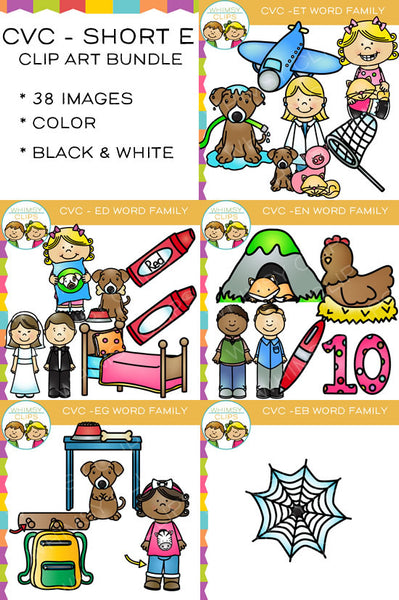 CVC Short E Word Family Clip Art Bundle {Volume One}