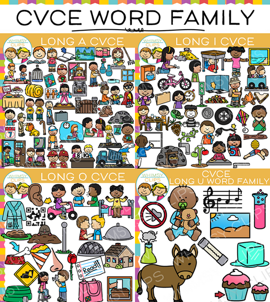 CVCe Long Vowel Word Family Clip Art