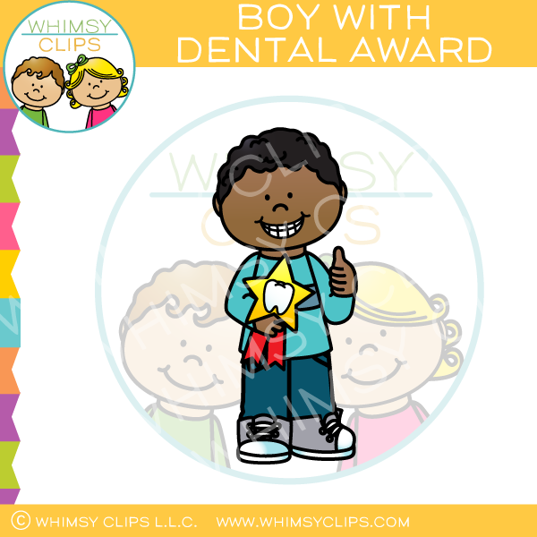 Boy With Dental Award Clip Art