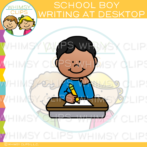 School Boy Writing At Desktop Clip Art