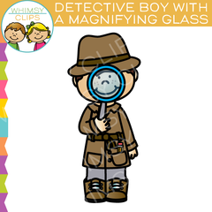 Detective Boy Looking Through a Magnifying Glass Clip Art