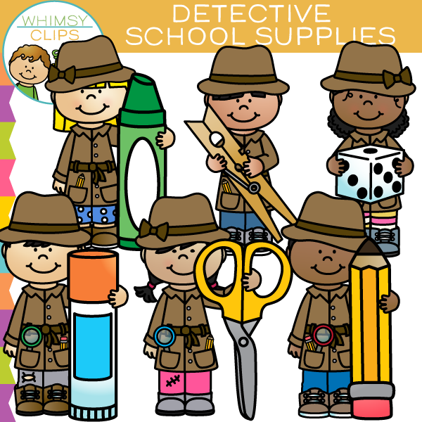 Detective Kids School Supplies Clip Art