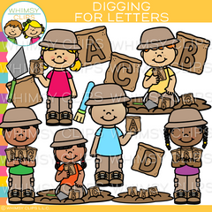 Kids Digging for Letters Clip Art