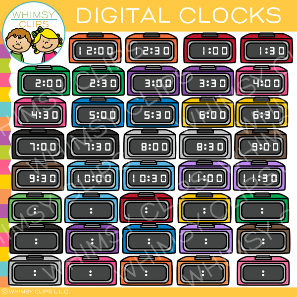 Colorful Digital Clocks Clip Art