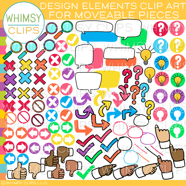 Moveable Design Elements Clip Art for Paperless Resources