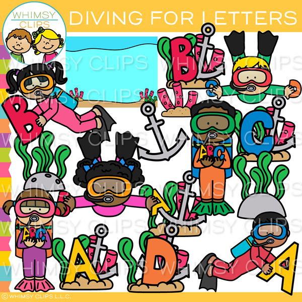 Diving for Letters Clip Art