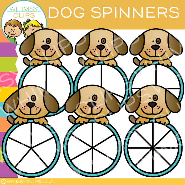 Sweet and Cute Dog Spinners Clip Art