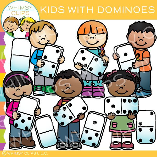 Kids with Dominoes Clip Art
