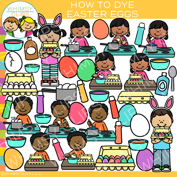 Kids Learn How to Dye Easter Eggs Clip Art