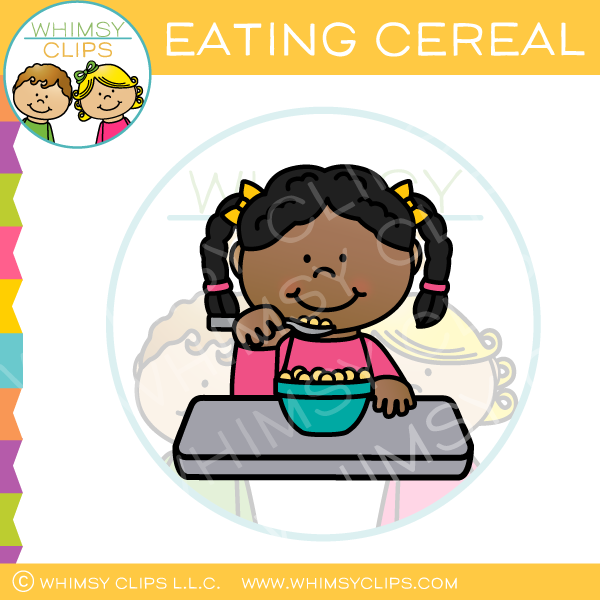 Girl Eating Cereal Clip Art
