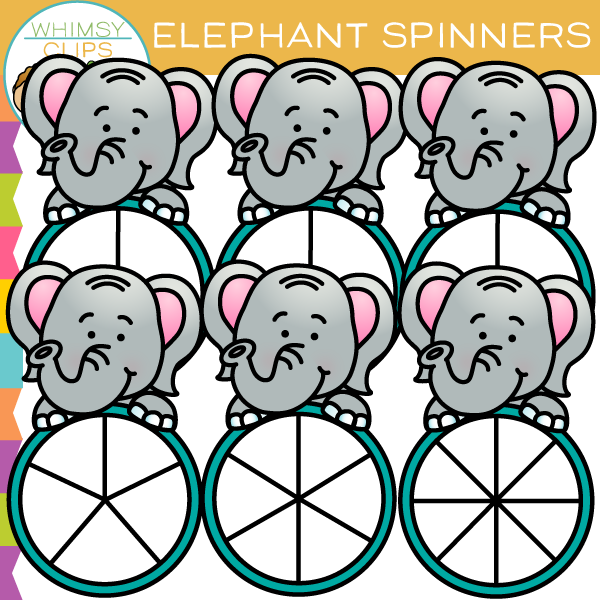 Cute and Fun Elephant Spinners Clip Art