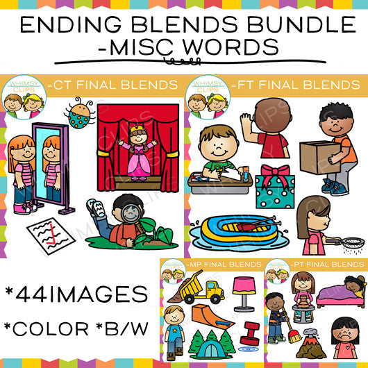 Ending Blends Clip Art Bundle - MP, CT, FT, PT Words