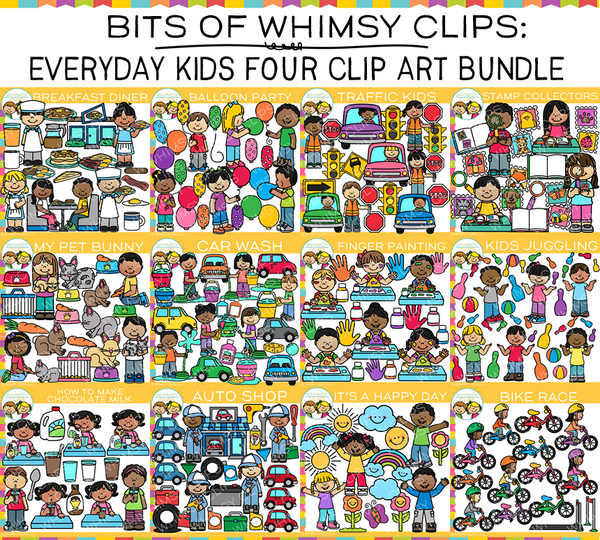 Bits of Whimsy Clips: Everyday Kids Clip Art GROWING Bundle FOUR