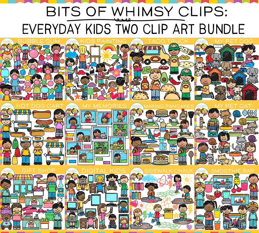 Bits of Whimsy Clips: Everyday Kids Two Clip Art BUNDLE