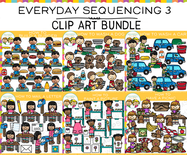Everyday Sequencing Clip Art GROWING BUNDLE - Three