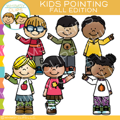 Fall Kids Pointing Clip Art