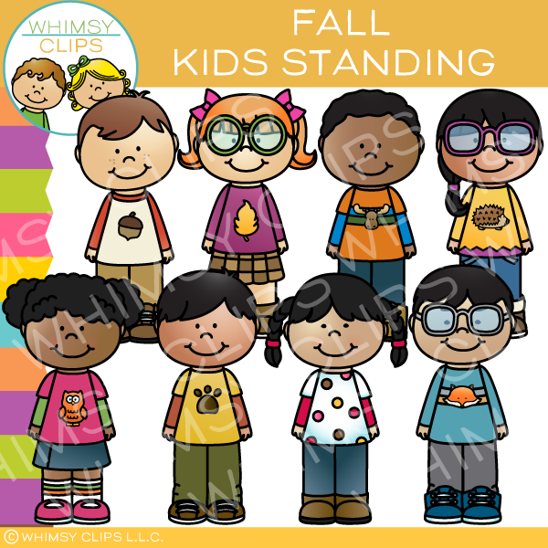 Kids Standing Clip Art - Fall Edition
