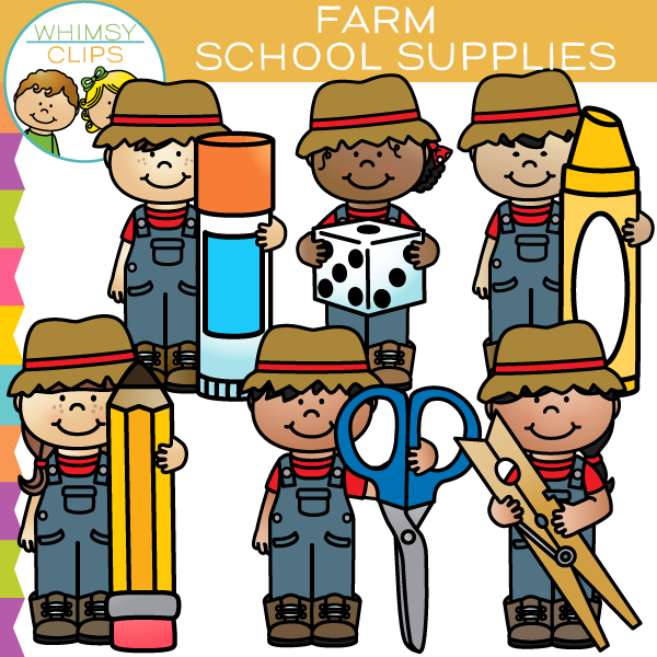 Farm Kids School Supplies Clip Art