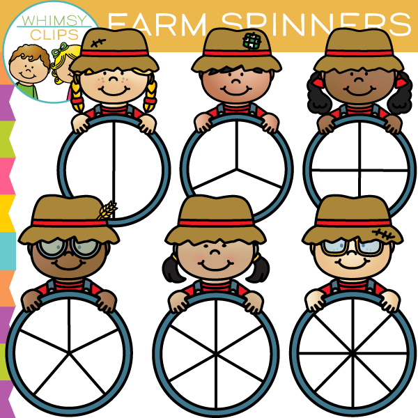 Farm Kids Spinners Clip Art