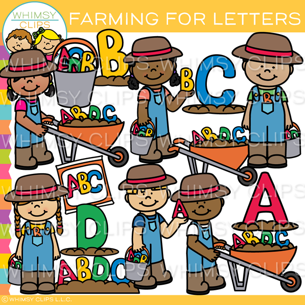 Kids Letter Farming Clip Art