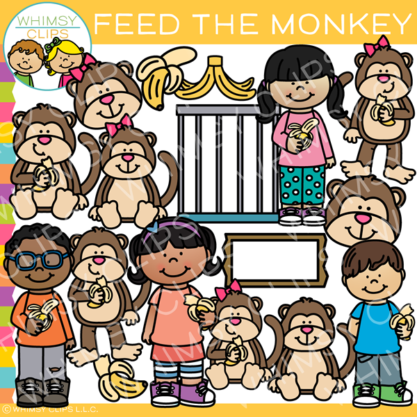 Kids With Monkeys Clip Art
