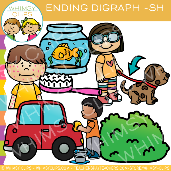 Final Digraphs  Sh Words Clip Art