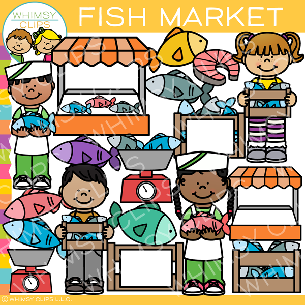 Kids Fish Market Clip Art