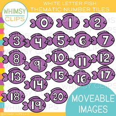 White Number Fish Tiles Clip Art