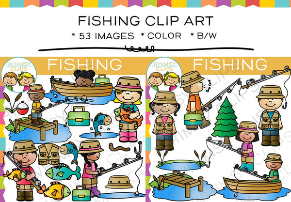 Kids Fishing Clip Art