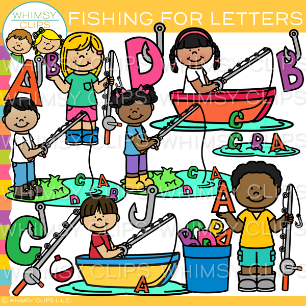 Kids Letter Fishing Clip Art