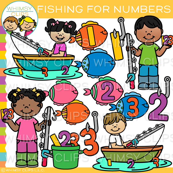 Fishing For Numbers Clip Art